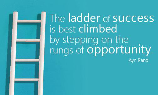 a review of the quote by ann rand the leader of success is best climbed by stepping on the rungs of
